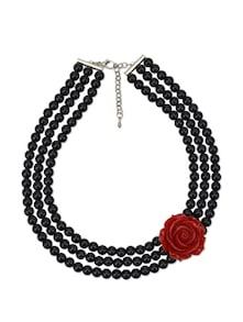 Black & Red Rose Flower Necklace - Blissdrizzle