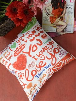 I Love You' Print Cushion Cover - Ambbi Collections