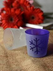 Leaf Print Tea-light Holder- Set Of 2 - Ambbi Collections