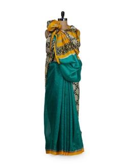 Blue And White Taspa Silk Saree - Awesome