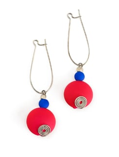 Pink And Blue Resin Bead Earrings - Eesha Zaveri; Jewellery By Design
