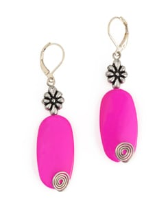 Fuchsia Stone Bead Earrings With Metal Wire And Lever Clasp - Eesha Zaveri; Jewellery By Design