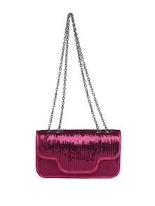 Fuchsia Sequinned Sling Bag - Toniq
