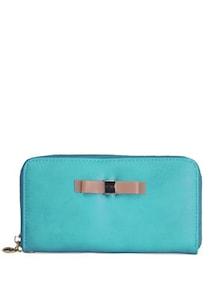 Bow Embellished Turquoise Wallet - Toniq