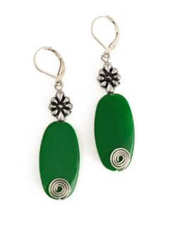 Green Stone Earrings With Metal Accent - Eesha Zaveri; Jewellery By Design