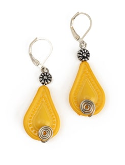 Yellow Tear Drop Earrings With A Lever Style Clasp Closure - Eesha Zaveri; Jewellery By Design