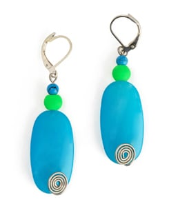 Neon Blue And Green Stone Bead Earrings With Lever Style Closure - Eesha Zaveri; Jewellery By Design