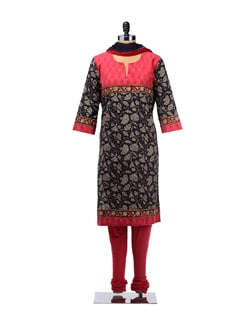 Zesty Black And Red Printed Suit - KILOL