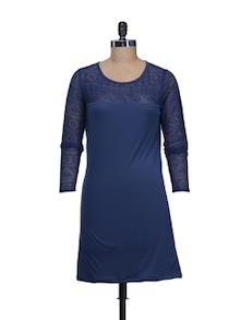 Navy Blue Lace Dress - @ 499