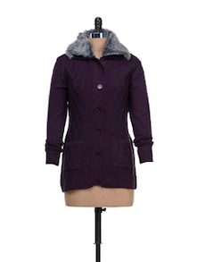 Purple Cardigan With Fur Collar - CLUB YORK