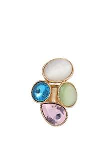 Adjustable Ring With Multi-coloured Stones - Karrat 22