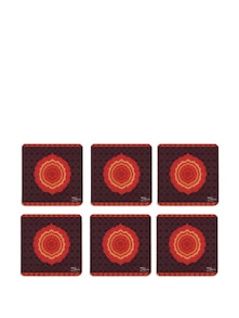 Flaming Flower Rubber Coasters - (Set Of 6) - India Circus