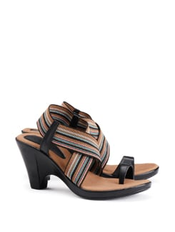 Overlap Strap Sandals With Suede Foot Bed - CATWALK