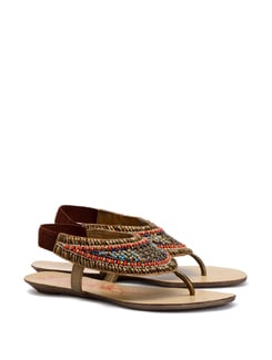 Beaded Sandals With An Elasticised Back Strap - CATWALK