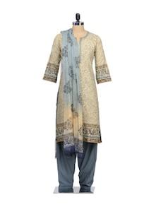 Elegant Beige Suit Set In Floral Print - KILOL
