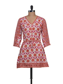 Buttoned Floral Tunic With Waist Belt - KILOL