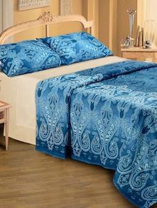 Contemporary Print Bedsheet In Blue - Belkado