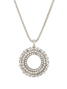 Oxidized Silver Circular Pendant Necklace - YOUSHINE