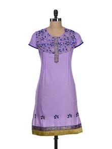 Elegant Purple Kurta With Floral Embroidery - Paislei