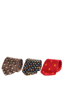 Set Of Elephant Motif Silk Ties - The Bombay Store