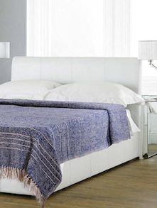Twill Blue Striped Single Bedcover - Taanbaan