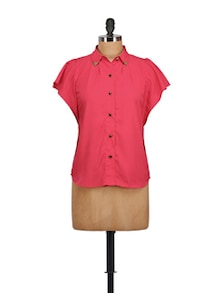 Coral Butterfly Button Down Top - MARTINI