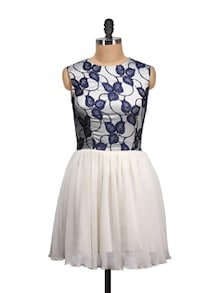 Blue Lace Pleated Party Dress - MARTINI