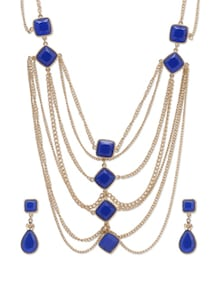 Beat The Blues Statement Neckpiece With Earrings - Miss Chase