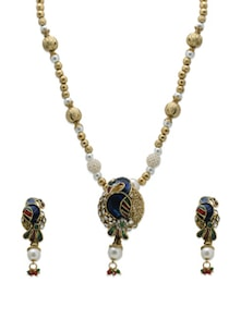 Peacock Pendant Neckpiece With Earrings - Aradhyaa Jewel Arts