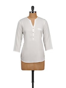White Crepe Top - Tops And Tunics