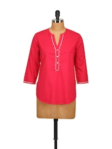 Red Embroidered Shirt - Tops And Tunics