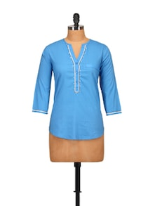 Blue Embroidered Shirt - Tops And Tunics