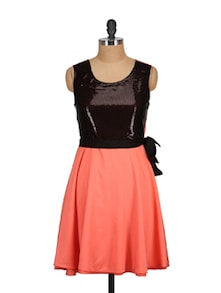 Peach&Black Sequins Dress - Tops And Tunics