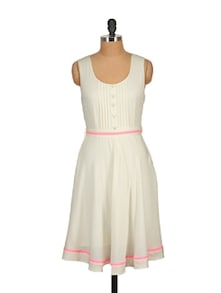 White Pleated Dress - Tops And Tunics