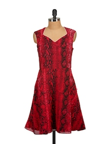 Snakeskin Print Red Dress - Tops And Tunics