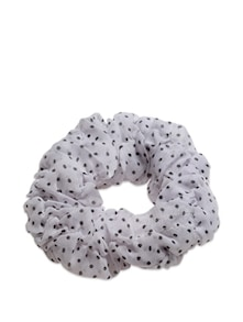 White And Black Polka Dot Rubber Band - K22