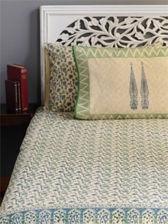 Jaipuri Print Double Bed Cover In Shades Of Khaki, Blue And Green - Cotton Curio