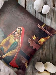 Digital Print 'Village Woman I' Cushion Cover- Set Of 2 - Belkado