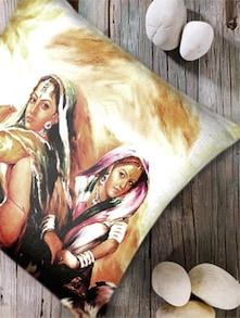 Digital Print 'Village Woman II' Cushion Cover-Set Of 5 - Belkado