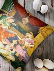 Digital Print  'Indian Princess' Cushion Cover- Set Of 2 - Belkado