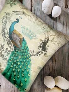 Modern Peacock Print Digital Cushion Cover-Set Of 5 - Belkado