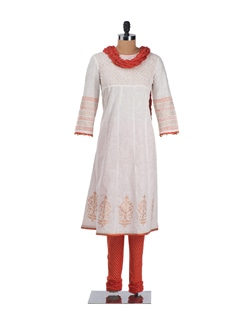 White And Orange Suit With Churidaar And Dupatta - Cotton Curio