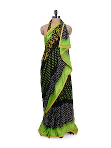 Black & Green Printed Saree - Purple Oyster