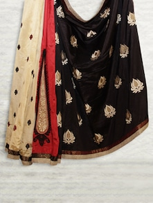 Elegant Black & Red Matka Silk Saree - SATI