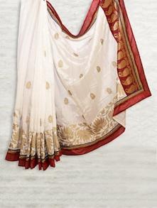 Traditional White & Red Matka Silk Saree - SATI