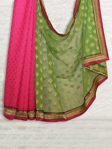 Pink & Green Chandheri & Handloom Patola Saree - SATI