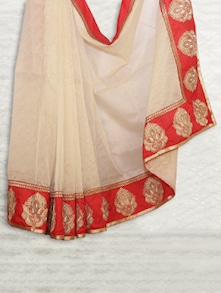 Elegant Beige & Orange Chandheri Saree - SATI