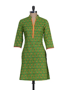 Parrot Green Floral Kurta - Cotton Curio