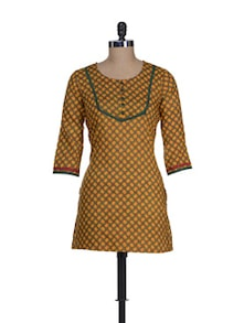 Yellow Printed Short Kurta - Cotton Curio
