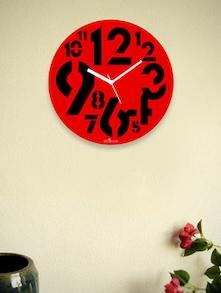 Red Chunky Numbers Wall Clock - Zeeshaan